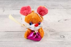 Игрушка для букета (АС) - Мышка с мешком музыкальная рыжая