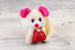Игрушка для букета (АС) - Мышка с мешком музыкальная шампань
