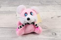 Игрушка для букета (АС) - Мышка шарф в полоску розовая