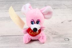 Игрушка для букета (АС) - Мышка  с фонариком музыкальная розовая