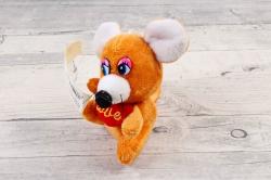 Игрушка для букета (АС) - Мышка  с фонариком музыкальная рыжая