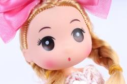 Игрушка для букета (Г) - Кукла-1 с бантиком малиновая арт. 55-S-2