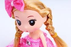 Игрушка для букета (Г) - Куклы-11, Ярко розовая с кружевом 17*5см, арт.55Т-1