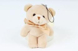 Игрушка для букета (Г) - Медведь атласный бант бежевый 12см  Арт.666-21