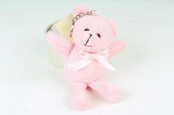 Игрушка для букета (Г) - Медведь атласный бант розовый 10/15см  Арт.666-2