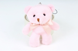 Игрушка для букета (Г) - Медведь атласный бант розовый 12см  Арт.666-21