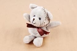 Игрушка для букета (Г) - Медведь атласный бант серый 12см  Арт.666-21
