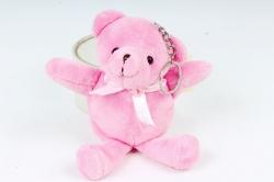 Игрушка для букета (Г) - Медведь атласный бант ярко-розовый 10/15см  Арт.666-2