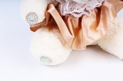 Игрушка для букета (Г) - Мишки-18 Шляпа Бежевая юбка 10*10см, арт.А93-1 (3шт/уп)