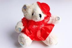 Игрушка для букета (Г) - Мишки-18 Шляпа Красная юбка 10*10см, арт.А93-1 (3шт/уп)