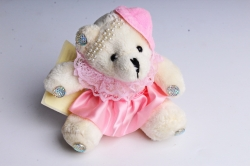 Игрушка для букета (Г) - Мишки-18 Шляпа Розовая юбка 10*10см, арт.А93-1 (3шт/уп)