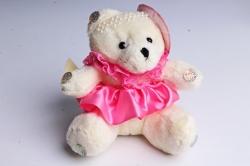 Игрушка для букета (Г) - Мишки-18 Шляпа Ярко розовая юбка 10*10см, арт.А93-1