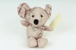 Игрушка для букета (Г) - Мышь с блестками бежевая 11/15см  Арт.666-36