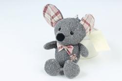 Игрушка для букета (Г) - Мышь с блестками серая 11/15см  Арт.666-36
