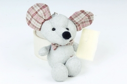 Игрушка для букета (Г) - Мышь с блестками серебро11/15см  Арт.666-36