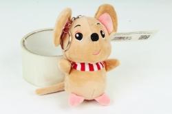 Игрушка для букета (Г) - Мышь с полосатым шарфом бежевая Арт.666-5