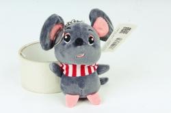 Игрушка для букета (Г) - Мышь с полосатым шарфом графит Арт.666-5