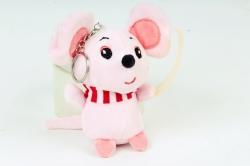 Игрушка для букета (Г) - Мышь с полосатым шарфом розовая Арт.666-5