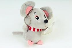 Игрушка для букета (Г) - Мышь с полосатым шарфом серая Арт.666-5