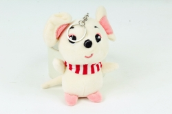 Игрушка для букета (Г) - Мышь с полосатым шарфом шампань Арт.666-5