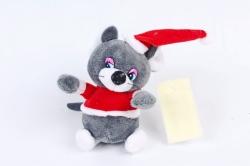 Игрушка для букета (Г) -Брелок Мышка дед Мороз графит  Арт.93014