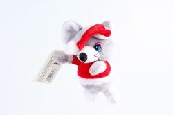 Игрушка для букета (Г) -Брелок Мышка дед Мороз серая  Арт.93014