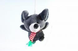 Игрушка для букета (Г) -Брелок Мышка графит с шарфиком в полоску,  Арт. 93002