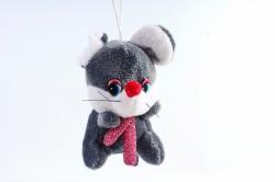 Игрушка для букета (Г) -Брелок Мышка графит с шарфом люрикс  Арт.93007