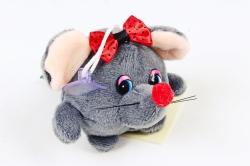Игрушка для букета (Г) -Брелок Мышка с бантиком круглая графит  Арт.93010