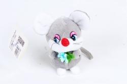 Игрушка для букета (Г) -Брелок Мышка с цветком серый  Арт.93003