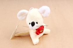 Игрушка для букета (Г) -Брелок Мышка с цветком шампань  Арт.93008