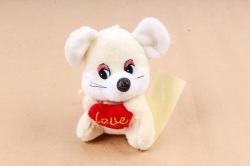 Игрушка для букета (Г) -Брелок Мышка шампань с Сердцем Арт. 93004