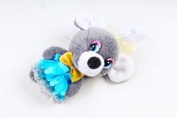 Игрушка для букета (Г) -Брелок Мышка в юбке с мишурой графит  Арт. 93005