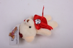 игрушка для букета- медведь для букета в красном платье с брил. h=12см  x07(jxy)