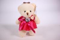 Игрушка для букета - Медведь для букета в малиновом платье с брил. h=12см X09(JXY)