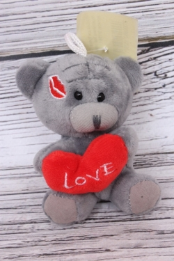 Игрушка для букета (С) - Мишка Тедди поцелуйчики 9см серый