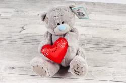 Игрушка для букета (СА) - Медведь  Сердце атласное