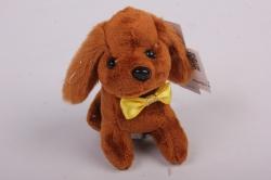 Игрушка для букета- Щенок с бантом- брелок коричневый 002LM