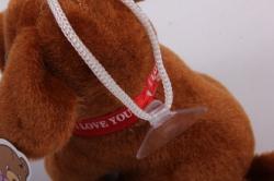 игрушка для букета- щенок с косточкой и бумбоном- брелок коричневый 14а/10