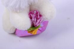 игрушка для букета- собачка белая 006lm h=6см