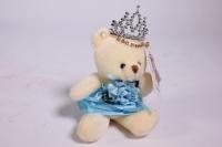 Игрушка для букетов - Медведь для букетов (голубое платье) h=12см