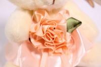 игрушка для букетов - медведь для букетов (персиковое платье) h=12см