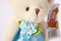 игрушка для букетов - медведь (голубое платье) h=12см №1413/7