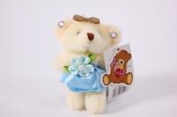 Игрушка для букетов - Медведь (голубое платье) h=8см №1434/8