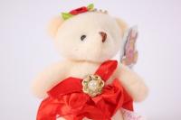 игрушка для букетов - медведь (красное платье) h=12см №07