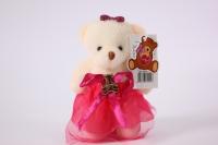 Игрушка для букетов - Медведь (малиновое платье) h=12см №03