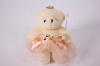 Игрушка для букетов - Медведь (персиковое платье) h=12см №01