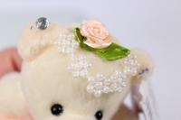 игрушка для букетов - медведь (персиковое платье)  h=12см №1420/3