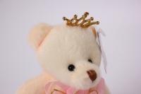 игрушка для букетов - медведь (розовое платье) h=12см №06