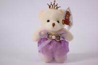 игрушка для букетов - медведь (сиреневое платье) h=12см №04
